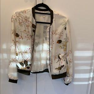 Zara jacket print bomber jacket thin summer Sz med